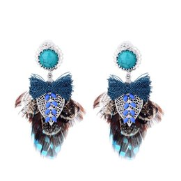 Wholesale Bow Tie Handmade Creative Feathers Earrings Turquoise Stainless Steel Ethnic Style Ear Clips Jewelry Gifts Support FBA Drop Shipping H273F