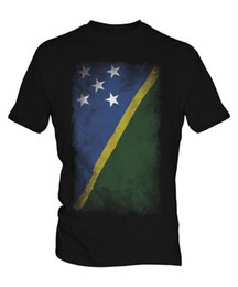 Großhandel SOLOMON ISLANDS FADED FLAG MENS T-SHIRT T-SHIRT SOLOMON AELAN SHIRT JERSEY GESCHENK