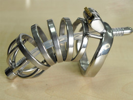 large chastity device cage NZ - Male Stainless Steel Cock Cage Large Penis Cage With Silica Gel Catheter Chastity Belt Device BDSM Sex Toy A276-1