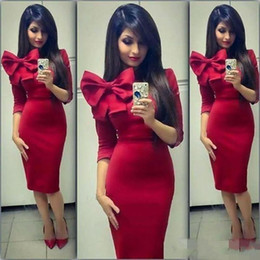 $enCountryForm.capitalKeyWord NZ - Red Knee Length Short Cocktail Dresses With Bow Half Sleeves Short Prom Dresses Sheath Satin Arabic Style High Neck Sexy