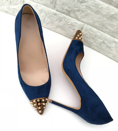 Girls Spiked Shoes Canada - sexy girls womens suede leather spikes point toe Stiletto Heels pumps sandals