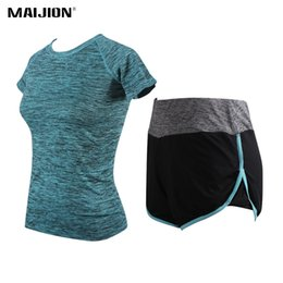 shorts suit set for women 2018 - MAIJION Women Breathable Running Sets Short-Sleeved+Shorts Sport Suits, Gym Quick Dry Elastic Fitness Yoga Sportswear fo
