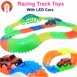 Discount diecast model race cars - LovelyToo Racing Tracks Car Toys Hot Wheels Flexible Railway Track Diecast With Led Cars Models Train Auto Kids Toy for