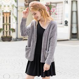 $enCountryForm.capitalKeyWord NZ - Knitted Cardigan Gray V Neck Korean Sweater Jumper Sexy Pocket Design Casual Jacket Top Women Loose Autumn Winter 2018