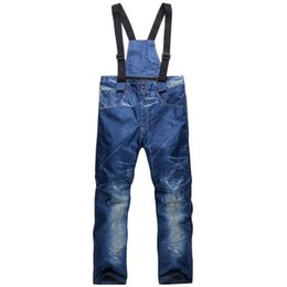 Warm Waterproof Pants Men UK - Men Skiing Snowboard Pants Jeans Windbreak Waterproof Keep Warm Wear-resisting Trousers Outdoor Mens Snow Pants