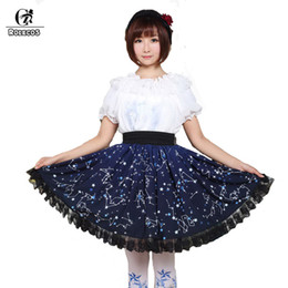 Discount nights costume - ROLECOS 2018 New Blue Color Sweet Lolita Skirt For Girls Lovely Night Constellation Print Skirt Women Cute High Waist SK