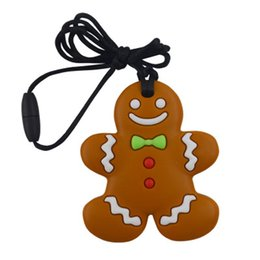 free teething necklace NZ - BPA Free Silicone Baby Teething Toy Lovely Gingerbread Man Shaped Chew Baby Molar Pendant Necklace 100% Food Grade Silicone Toddlers Toys