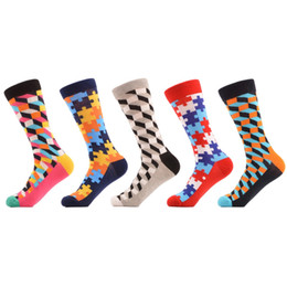 $enCountryForm.capitalKeyWord UK - 5 Pair  Lot Men 'S Filled Optic Puzzle Funny Combed Cotton Socks Casual Colorful Crew Happy Socks Wedding Gift