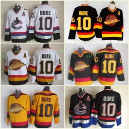 d1f001d38 Men Vancouver Canucks Ice Hockey Jerseys Cheap 10 Pavel Bure Vintage CCM  Authentic Stitched Jerseys Yellow White Black