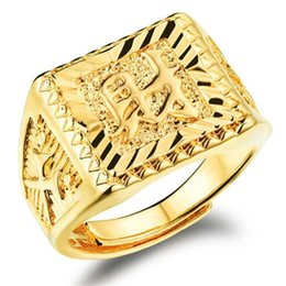 Wholesale NEW K Real Gold Plated Men Ring Top Quality Brand Jewelry Classical Property In Chinese Engraving Man Party Gift
