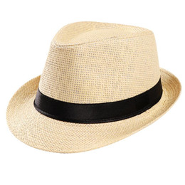 Unisex Cap Summer Outdoor Beach Sport Sun Straw Hat Band Flat Hat Straw  Women s Belt Small Sun Protection Adjustable 00773b0176