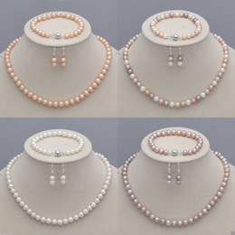 Pink Pearls jewelry set online shopping - 8 mm Natural Akoya Cultured Pearl Necklace Bracelet Earrings Jewelry Set Seller informati