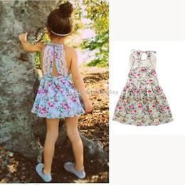 christmas boutique clothes 2019 - Baby Girls Floral Straps dress INS Backless print suspender dresses Boutique kids clothing 2018 new lace dress C3617 dis