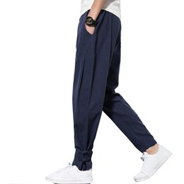 e00b6c1d95 2018 Autumn Harem Pants Men 100% Pure Linen pants Drawstring Flax Trousers  Hip hop loose Vintage long pants casual joggers