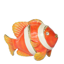 fish jewelry UK - Enameled Bejeweled Clown Fish Trinket & Jewelry Ring Box Nautical Decoration Sea Life Ornament Gifts