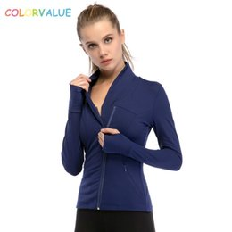 Thumb sporTs online shopping - Colorvalue Chic Zipper Yoga Jacket Women Slim Plus Size Jogger Running Coat Nylon Sport Gym Jersey with Pocket and Thumb Holes