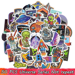Discount luggage for laptops - 50 PCS Waterproof Universe UFO Alien ET Astronaut Stickers Poster Wall Stickers for Kids DIY Room Home Laptop Skateboard