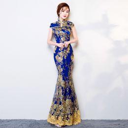 Ingrosso YX3922 Donne vestito tradizionale cinese per la signora Party Elegance cheongsam abito da sposa damigella d'onore Qipao abito da sera paillettes
