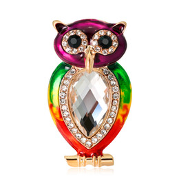 rainbow brooches UK - Rainbow Pride Colorful Owl Bird Pin Brooch