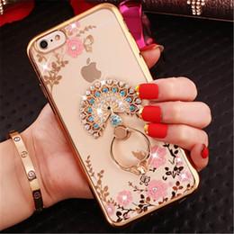 Gold peacock rinGs online shopping - Premium quality for iphone x case Bling Diamond luxury designer phone case Finger Ring Peacock Holder Phone Case
