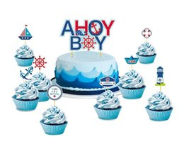 $enCountryForm.capitalKeyWord Australia - Letter 1 -6 Years Kids Birthday Party Decoration 19pcs  Set First Birthday Boy Party Nautical Theme With Cupcake Topper For 1st Birthday
