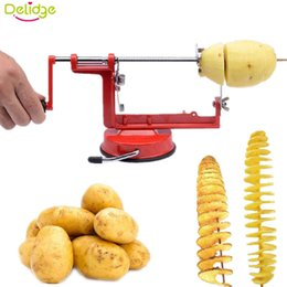 Tornado Cutter Australia - 1pc Manual Rotate Potato Slicer Stainless Metal Sweet Potatoes Twisted Tornado Potato Slice Cutter Diy Kitchen Tools