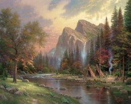 oil painting thomas kinkade 2019 - The Mountains Declare His Glory Thomas Kinkade Oil Paintings Art Wall Modern HD Print On Canvas Home Decoration No Frame