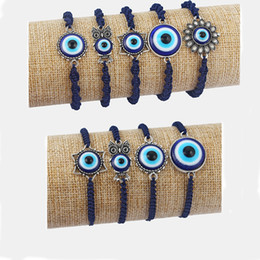 wholesale blue eye bracelet NZ - DropShipping 12pcs Star Owl With Turkish Blue Eye Beads Charms Bracelets Navy Wax Cotton Cord Bangle Jewelry
