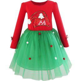 6249b4ec Sunny Fashion Girls Dress Christmas Santa Hat Long Sleeve Party Dress 2018  Summer Princess Wedding Dresses Clothes Size 6-12