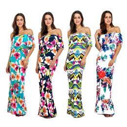 Beach Petal Bohemian Dress Donna Vacanze Off Shoulder Ladies Maxi Long Summer Print Dress Costumi da bagno per donna S-XL Boho Women Custom