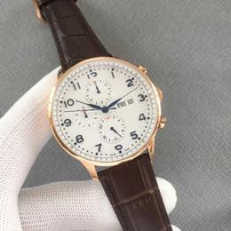 $enCountryForm.capitalKeyWord NZ - Luxury WATCHES Portuguese Chronograph white dial automatic machinery Genuine leather strap Mens Sport Watch brand Watches Gent Wristwatch