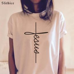 f1fbcb85 jesus tees 2019 - Slithice Art Jesus Letter Print Women T-shirts Black White  tees