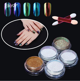 polished mirror Canada - Professional Nail Art Metal Polish Chameleon Color Manicure Mirror Chrome Effect Pigment With Brush