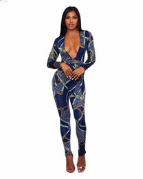 $enCountryForm.capitalKeyWord Canada - Plunging V Neck Sashes High Waist Catsuits For Women Plus Size Full Sleeve One Piece Skinny Jumpsuits Dashiki Print Long Overall