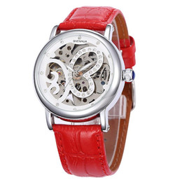 China woman Automatic Mechanical watch Luxury Brand watches butterfly dial dial Hollow Ladies Rhinestone Leather strap sports Costume wristwatch cheap red leather women costume suppliers