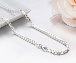 35 Chain Australia - 7 Sizes Available Real Pure 925 Sterling Silver Box Chain Necklace Women Men Jewelry Heavy kolye collares 35 40 45 50 55 60 80cm S18101105