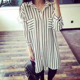 Plus Size Striped Blouse Australia - Zanzea Autumn Summer Shirts 2018 Women Blouse Lapel 3 4 Sleeve Striped Blusa Feminina Long Blouses Loose Tops Blusas Plus Size