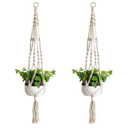 Pianta Hanger Hook Flower Pot Handmade Knitting Naturale Fine Cordage Holder Cestello Cestino Giardino di casa Balcone Decorazione 9zd CV