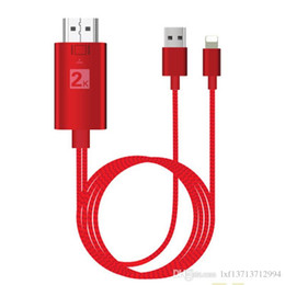 Discount apple usb hdmi cable - 2M Dock to HDMI HDTV TV Adapter USB Nylon Cable 1080P for IPX 8 7 IOS device