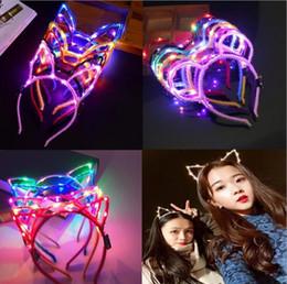 glow hair bands 2019 - Led Cat Rabbit Ear Headband Light Up Party Glowing Supplies Women Girl Flashing Hair Band Football Fan Concet Cheer Hall