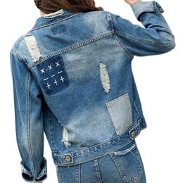Chinese  Denim Jacket For Women New Arrival Vintage Women Basic Coats Autumn Winter Embroidery Frayed Patchwork Jeans Coat Ripped Hole Jakcets manufacturers
