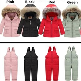 down ski suit 2019 - 2018 Winter for Boys Coat Girls Ski Suit Children Clothing Set Baby Duck Down Jacket + Pants Overalls Warm Kids clothes