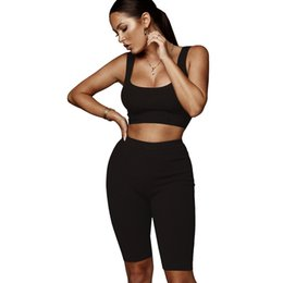 $enCountryForm.capitalKeyWord Canada - KGFIGU two pieces sets summer clothes for women tracksuits 2018 summer solid color basic style tank tops and short pants suits