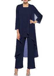 Chinese  Lisa Dress Women's Chiffon Pant Suits Mother of The Bride 3 Pieces Long Jacket 2018 trouser suits for special occasions manufacturers