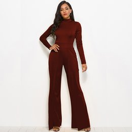 1808b44f0c63 women jumpsuit black high neck 2019 - Women Jumpsuit Solid Stretchy High  Neck Long Sleeve High