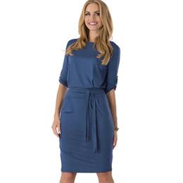 c0cc401909 Aamikast Mujeres Color Sólido Casual Fajas Simples Vestidos Elegantes Damas Vestido  Cómodo Algodón Ocio Trabajo Vestidos