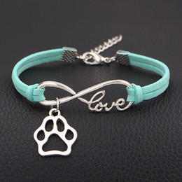 $enCountryForm.capitalKeyWord Canada - Infinity Love Dog Claw Paw bracelets summer Light green Leather charm bangles for women Men Christmas gift wrap Jewelry wholesale drop ship