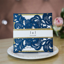House band online shopping - Navy Blue Laser Cut Wedding Invitations With Glittery Bottom Cards And Bands Provide Free Printing