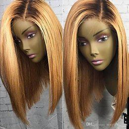 two tone bob wigs Canada - Natural Soft High Quality Two Tones 1b 27# Ombre Blonde Short Bob Wigs Heat Resistant Glueless Synthetic Lace Front Wigs for Black Women