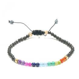 crystal 3mm UK - 7 Colors Bracelet Natural Crystal Yoga Seven Chakras Healing Balance Bracelet For Women Reiki Prayer Stones 3mm Thin